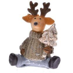 Ülő rénszarvas barna pulcsis