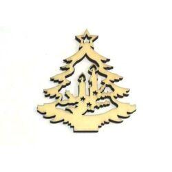 Karácsonyfa gyertyával fafigura
