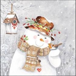 Koktél szalvéta - Hóember Kismadárral
