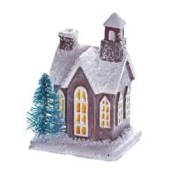 Házikó fenyővel poly 5x4cm barna-fehér