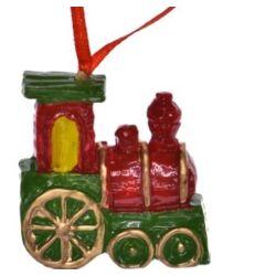Mozdony akasztós, 4cm piros-zöld