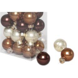 Karácsonyi gömb szett dobozos - 2,5cm barna-krém