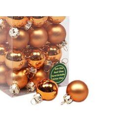 Karácsonyi gömb szett dobozos - 2,5cm bronz