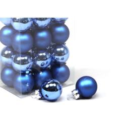 Karácsonyi gömb szett dobozos - 2,5cm kék