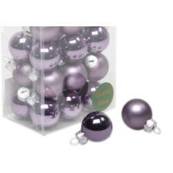 Karácsonyi gömb szett dobozos - 2,5cm lila