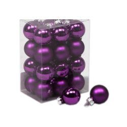 Karácsonyi gömb szett dobozos - 2,5cm sötétlila
