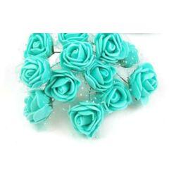 Mini polyfoam rózsa tüllös - sötét menta