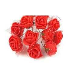 Mini polyfoam rózsa tüllös - piros