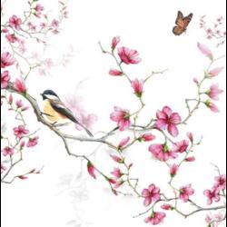 Szalvéta - Madárka virágzó faágon