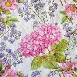 Szalvéta - Rózsaszín hortenzia és virágok