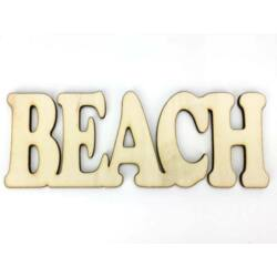 "Natúr fa - ""Beach"" felirat 6x16cm"