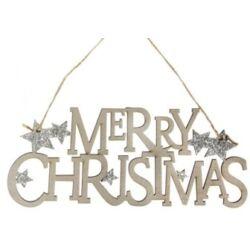 Merry Christmas akasztós dísz csillaggal glitteres fa, ezüst