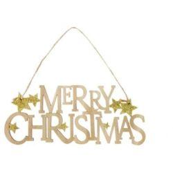 Merry Christmas akasztós dísz csillaggal glitteres fa, arany