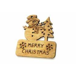 Merry Christmas táblácska, natúr hóemberes