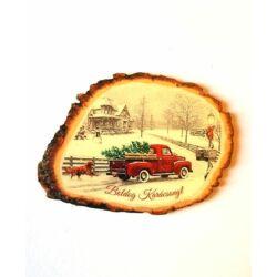 """""""Boldog Karácsonyt"""" táblácska, piros Pick Up fenyővel"""