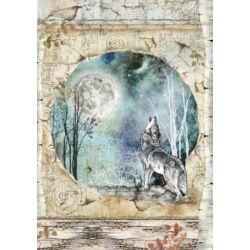Rizspapír A4 - Cosmos wolf and moon