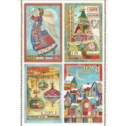 Rizspapír A4 - Patchwork postcards
