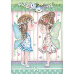 Rizspapír A4 - Fairies with butterflies