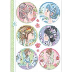 Rizspapír A4 - Fairy faces in spheres