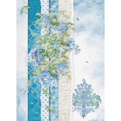 Rizspapír A4 - Flowers for you light blue
