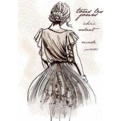 Sziluett rizspapír szalvéta A/4 - Sétáló hölgy