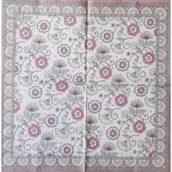 Szalvéta - Virágminta pink