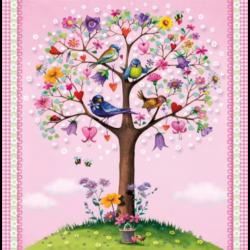 Szalvéta - Színes, virágos fa madárkákkal