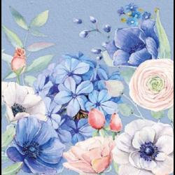 Szalvéta - Kékes virágok