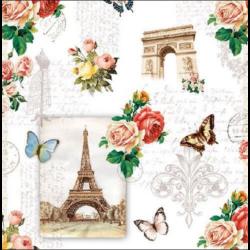 Szalvéta - Párizs rózsás, pillangós
