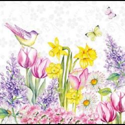 Koktél szalvéta - Virágos kert madárkával