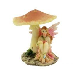 Tündér figura gomba alatt 6cm, rózsaszín