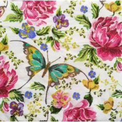 Szalvéta -Hímzett virágok pillangóval