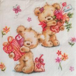 Szalvéta - Macika virágcsokorral