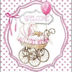 Koktél szalvéta - Welcome rózsaszín