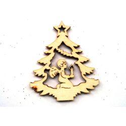 Karácsonyfa angyallal fafigura