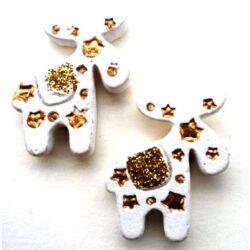 Glitteres  fehér-arany ragasztható rénszarvas