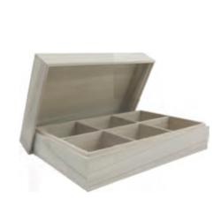 6 rekeszes teafiltertartó doboz levehető tetővel