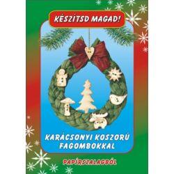 Csináld magad papírcsomag: Karácsonyi koszorú fagombokkal
