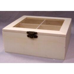 4 rekeszes teafiltertartó fadoboz átlátszó tetővel