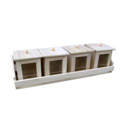 Doboztartó üvegbetétes dobozokkal