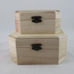 Nyolcszög alakú fa doboz 2 db