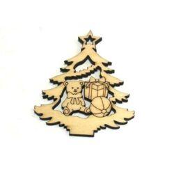 Karácsonyfa játékokkal fafigura