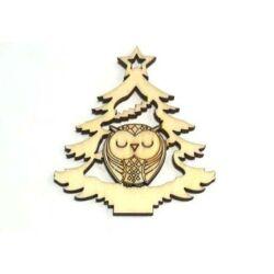Karácsonyfa bagollyal fafigura