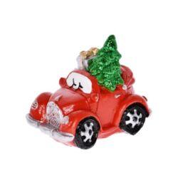 Teherautó glitteres fenyővel, ajándékkal poly, piros
