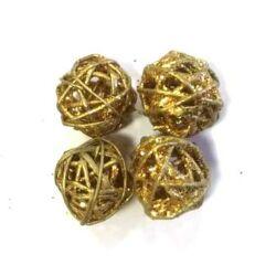 Rattan golyócska 3cm, metál arany