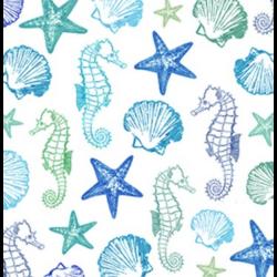 Koktél szalvéta - Tengeri állatkák, aquarell