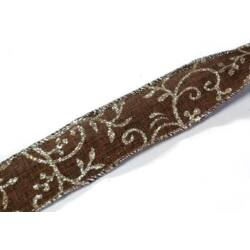 Glitteres inda mintás szalag, barna 35mm