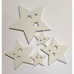 Fafigura - Fehér lyukas csillagok, szett