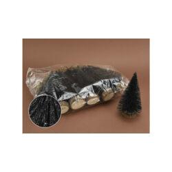 Fenyőfa glitteres fekete 15cm,