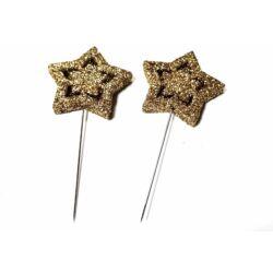 Glitteres csillag betűző,2db - arany
